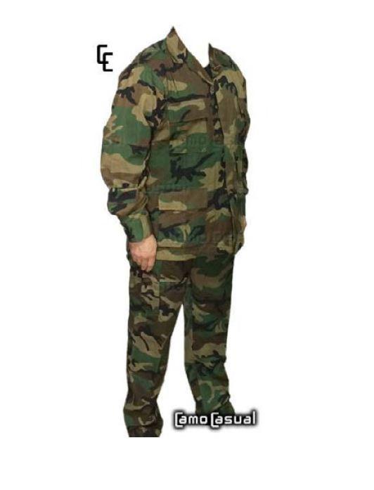 Uniforme Militar Equipo Camuflado Woorland casaca y pantalón 1