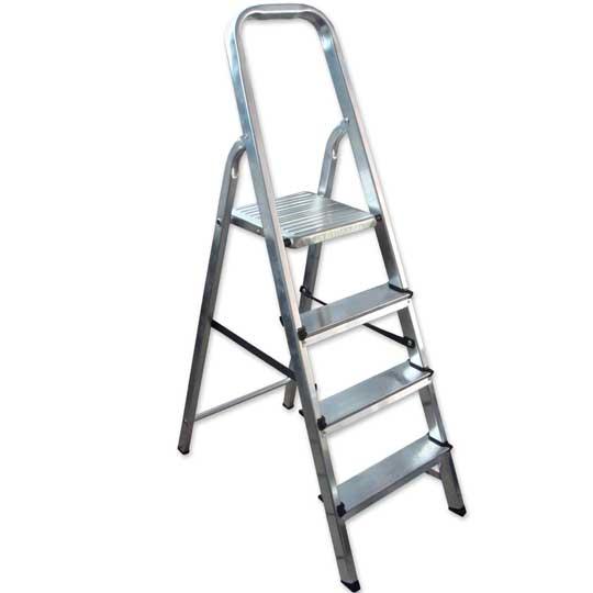Escalera en aluminio Escalones + Plataforma y soporte para piernas. - 4 pasos 3