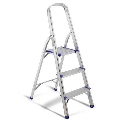 Escalera en aluminio Escalones + Plataforma y soporte para piernas. - 3 pasos 1
