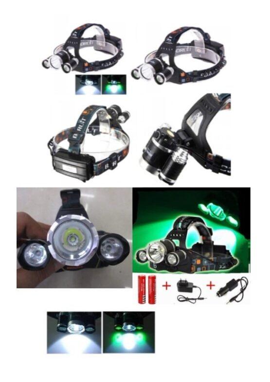 Minero Super potente LED T6 10 W CENTRAL Y 2 LEDS VERDES XPE 3 W. Recargable. 1