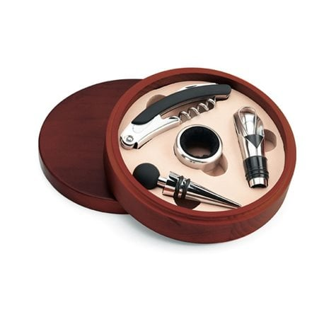Set de vino en caja redonda de madera 4 piezas. 1