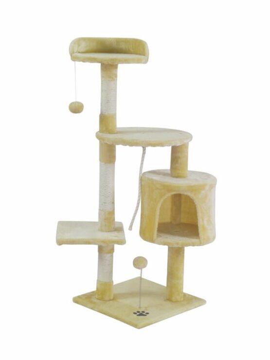 Árbol Rascador para Gato con Caseta y Plataformas en Recubrimiento de Felpa para Jugar y Descansar. 1
