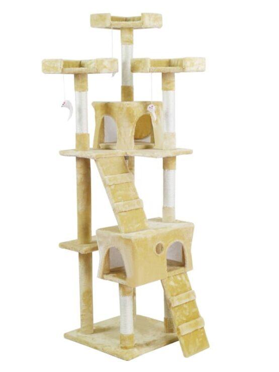 Árbol Rascador para Gato con 2 Casetas en Recubrimiento de Felpa para Jugar y Descansar. 1