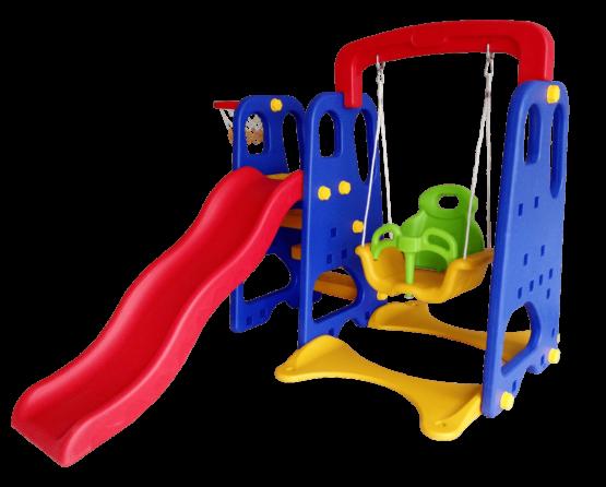 Set Infantil 3 en 1 de Hamaca, Tobogan y Cesta de Basquet para Exteriores. 1
