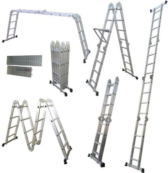 Escalera Multi función, en aluminio 4 tramos de 4 escalones, 5 posiciones 1