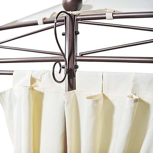 Pergola Metalica Redonda con Cortinas de Poliester 280 x 350 cm Blanca Just Home Collection 2