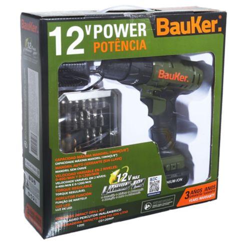 Set taladro atornillador 12 v con 29 piezas Bauker 13
