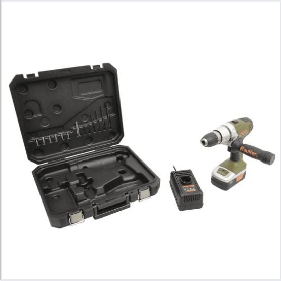 Taladro con percutor inalámbrico 18 v batería litio Bauker 1