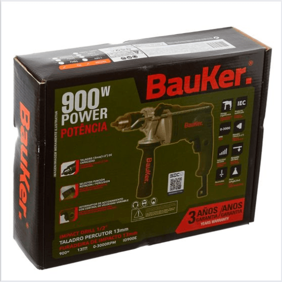 Taladro Percutor Electrico 13 mm 900 W Bauker 9