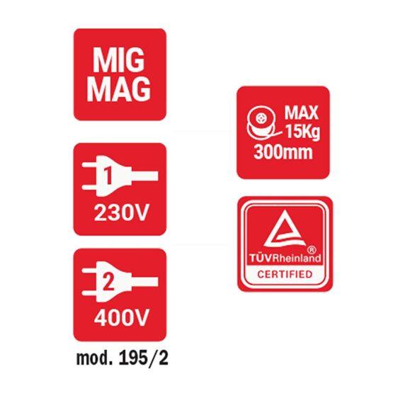 Equipo Soldar MIG 200A Telmig 195/2 Turbo 821069 Telwin 2