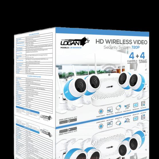 KIT LOGAN WIFI NVR DE 4 CH + 4 CAMARAS BULLET HD 720P IP 66 + DISCO 2TB 4