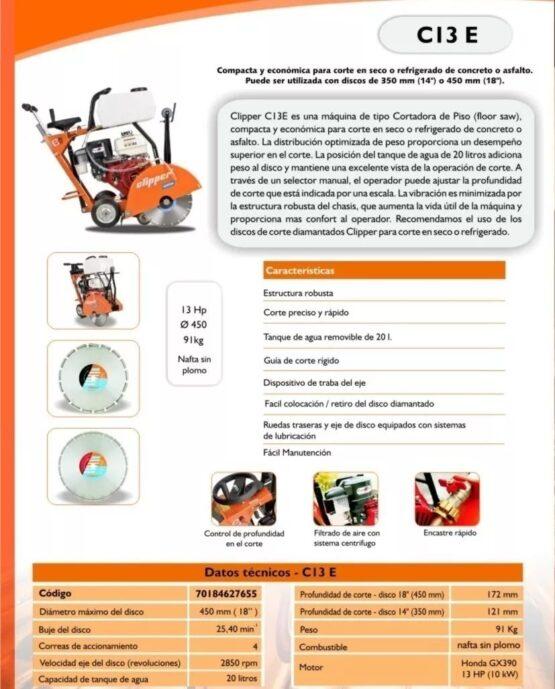 MAQUINA DE CORTAR CONCRETO/ASFALTO CLIPPER C13E 3