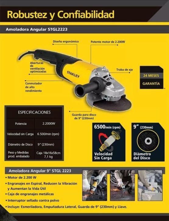AMOLADORA ANGULAR STANLEY 230MM 6500RPM 2200W 5
