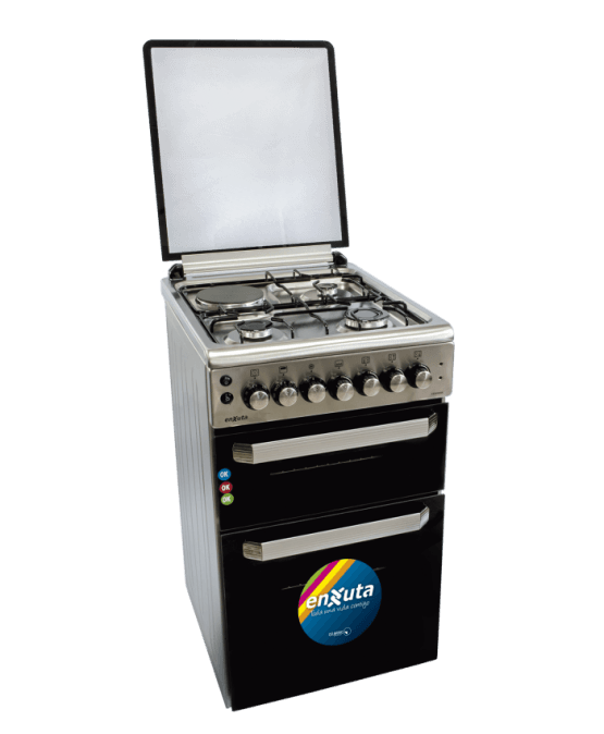 Cocina Doble Horno Enxuta con 3 Hornallas y 1 Disco Electrico Inox. 1