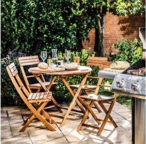 Juego de comedor Catania de madera 5 piezas natural Just Home Collection 4