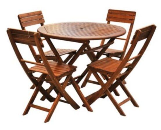Juego de comedor Catania de madera 5 piezas natural Just Home Collection 1