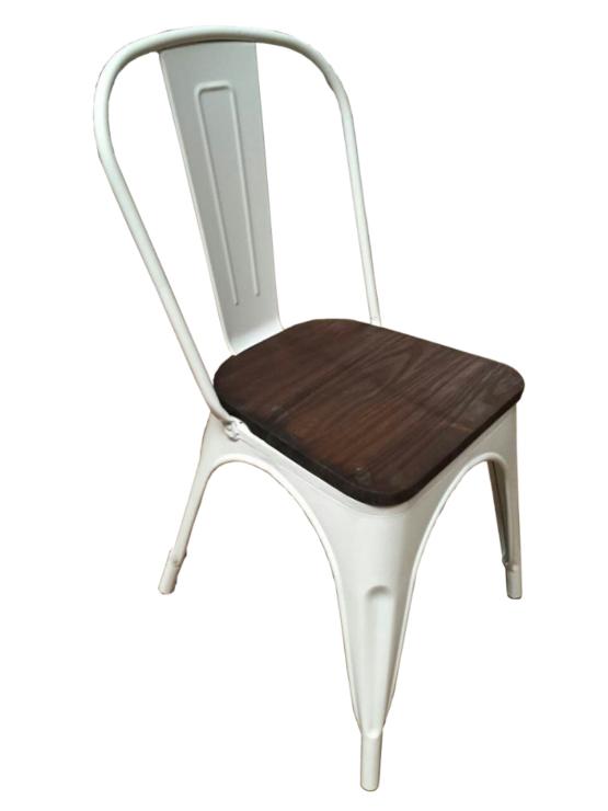 Set 4 Sillas Tolix de metal opaco con asiento de madera 2