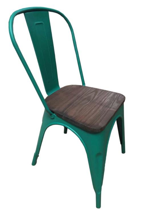 Set 4 Sillas Tolix de metal opaco con asiento de madera 1