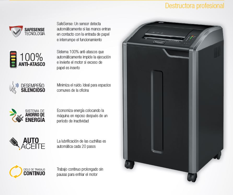 Destructora Fellowes 425CI 36 Hojas Corte 4 X 30MM 7