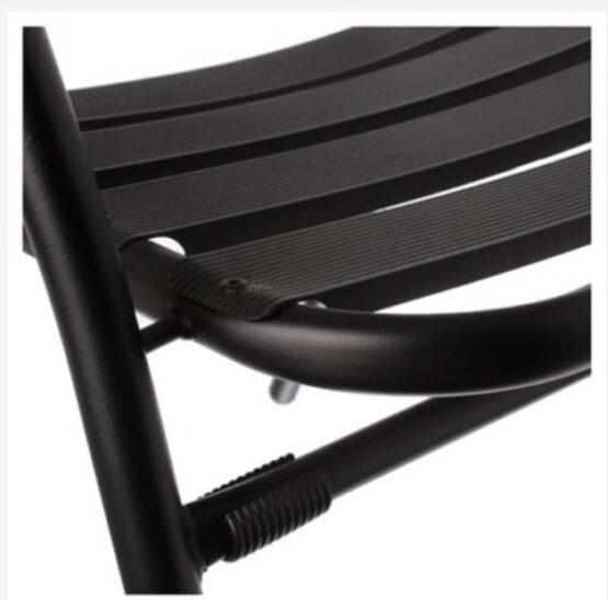 Silla de Exterior Slat de Aluminio Negra Just Home Collection 4