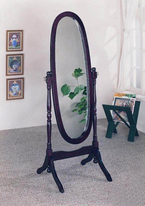 Espejo Oval Espejo marco y pie en madera 2