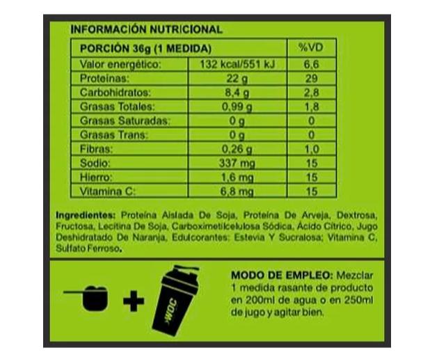 Proteína Vegana Woc Sabor Naranja 750gr 4