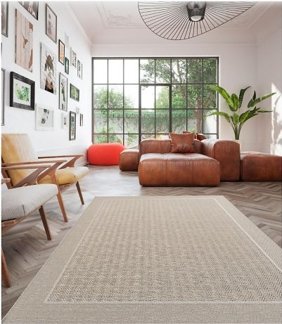 Alfombra Indy Border 160 x 230 cm Gris Just Home Collection 2