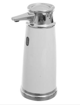 Dispensador Interdesing de Jabon Automatico con Sensor Blanco y Plateado 1