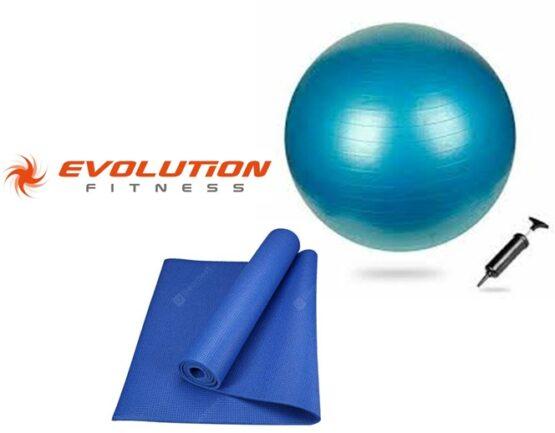 Kit Pilates Pelota 85cm + Inflador + Colchoneta Evolution Fitness 1