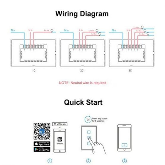 Interruptor de Pared Sonoff 1 Boton Wifi 2