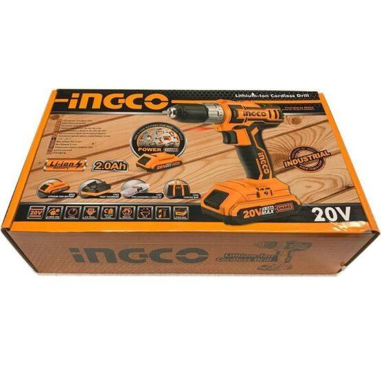 Taladro 10MM Atornillador 20VOLT Litio Ingco Con Bateria y Bolso 2