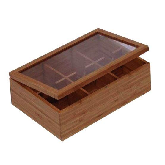 Caja de Bamboo Selecta Rectangular para Te 6 Divisiones 1