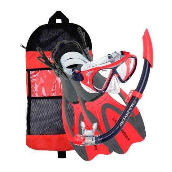 Kit para Agua Us Divers Niño 6+ Dorado II Mascara+Snorkel+Aletas+Bolso 1