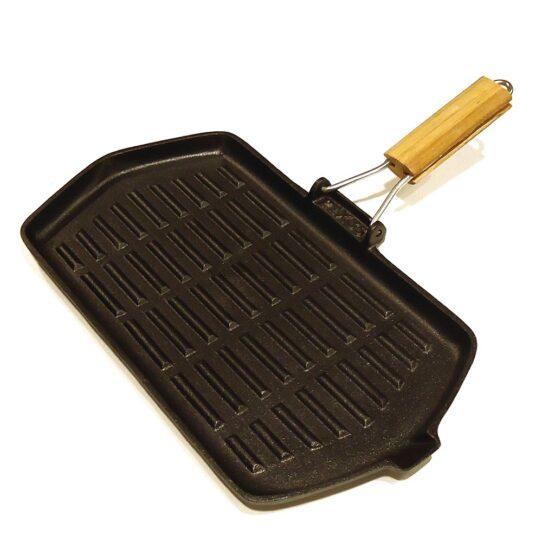 Plancha Grill con Mango de Madera 21x35CM Hierro 1