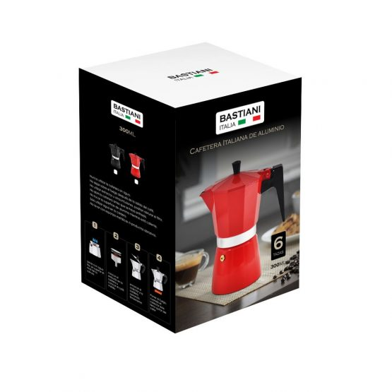 Cafetera Italiana Aluminio Bastiani 300ML 6T 4