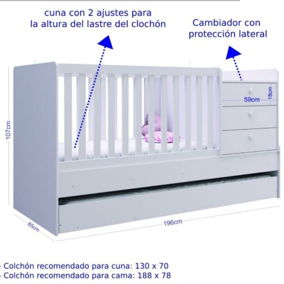 Cuna Cama Unsi Furniture Multifuncion Con Cama Aux 2