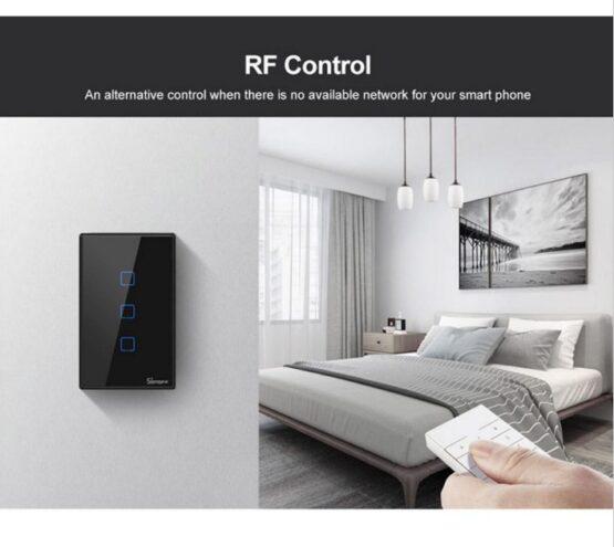 Interruptor De Pared Sonoff 1 Boton Wifi Rf Negro 3
