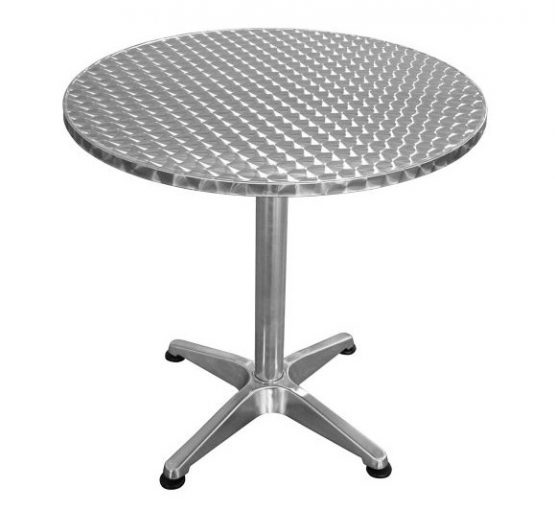 Mesa de Jardin de Aluminio Redonda Plateada 1
