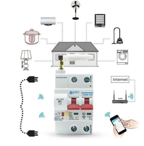 Llave Termica Wifi 2 Fases 220vac 16a 2