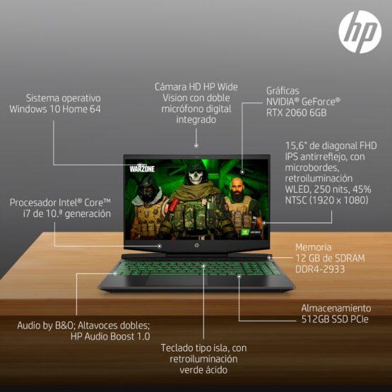 "Notebook HP Pavilion Gaming 15-dk1023la/ 15.6""/ i7/ 12Gb/ 512Gb 4"
