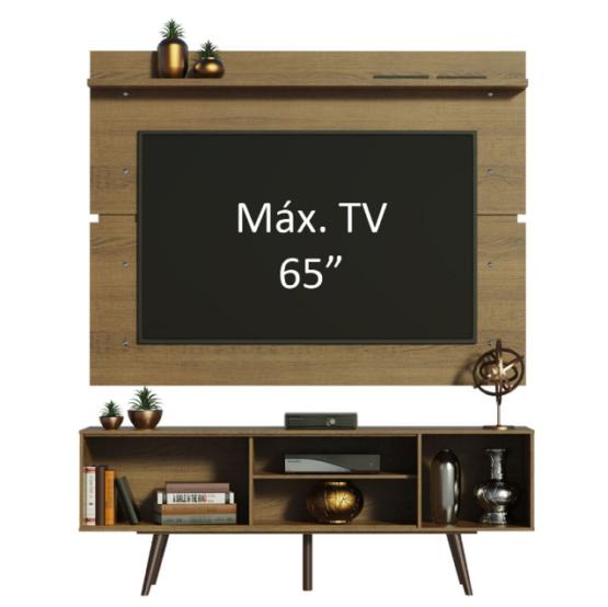 Combo Unsi Furniture Panel para TV y Rack en Tono madera con Estantes 2