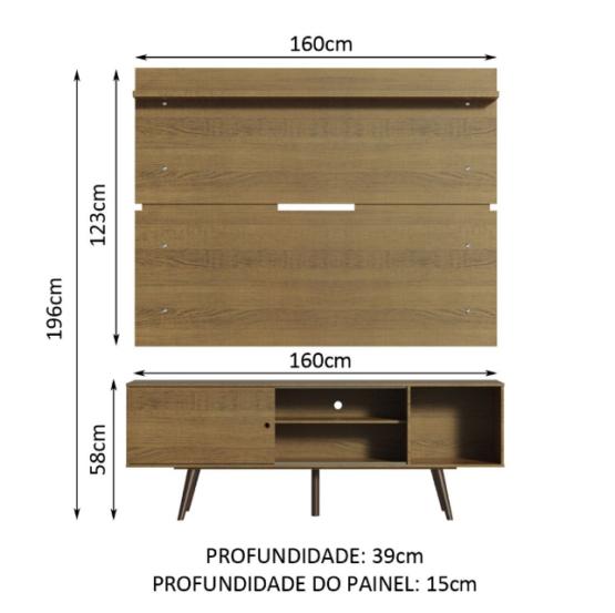 Combo Unsi Furniture Panel para TV y Rack en Tono madera con Estantes 3