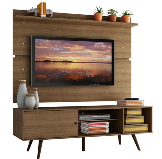 Combo Unsi Furniture Panel para TV y Rack en Tono madera con Estantes 1