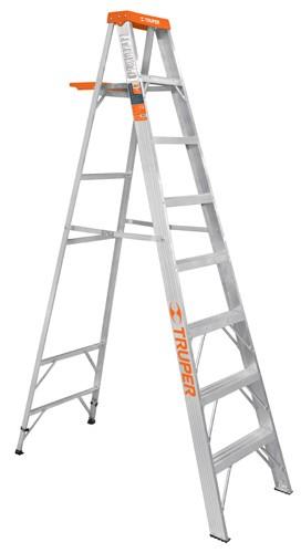 Escalera de Aluminio Truper con Reg. Anti y Bandeja 8 Peldaños 2.44 MT(175KG) EST-27 1