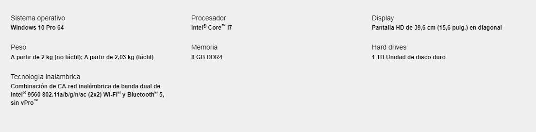 "Notebook HP 8ZN63LT#ABM / 15.6"" / I7 / 8GB / 1TB / Win10 Pro 9"