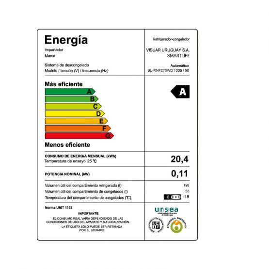 Refrigerador Frio Seco Smartlife con Dispensador 249 Lts 13