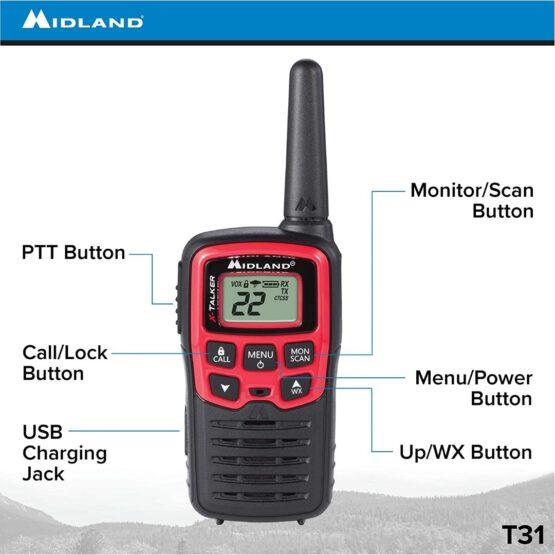 2 Radios Walkie Talkies Midland T31 con 22 Canales 5