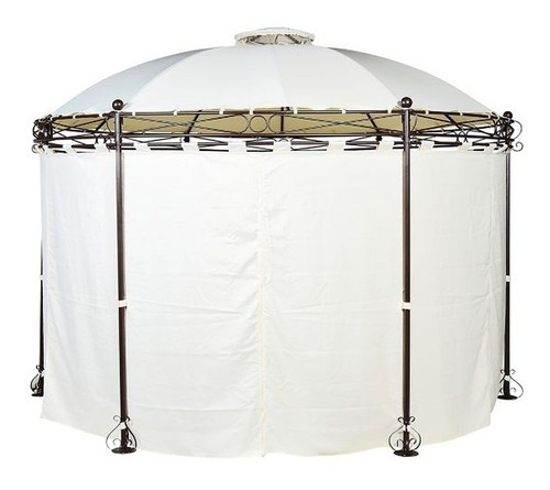 Pergola Metalica Redonda con Cortinas de Poliester 280 x 350 cm Blanca Just Home Collection 7