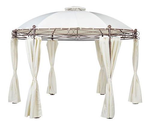 Pergola Metalica Redonda con Cortinas de Poliester 280 x 350 cm Blanca Just Home Collection 1