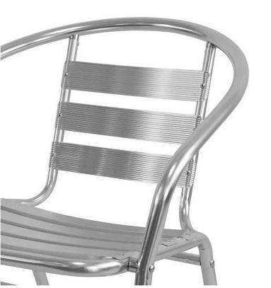 Silla de Jardín Just Home Collection Slat de Aluminio Plateada 4